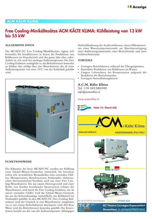 Small Air cooled liquid chiller FREE-COOLING